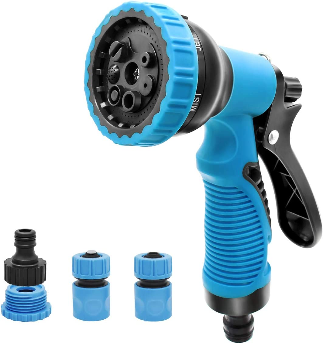 Garden Hose Nozzle,7 Adjust Watering Patterns Water Hose Nozzle Sprayer,High Pressure,Anti-Slip Design Spray Nozzle,QuickConnect+Male and Female Connectors, for Car Wash,Watering Plants,Shower Pets