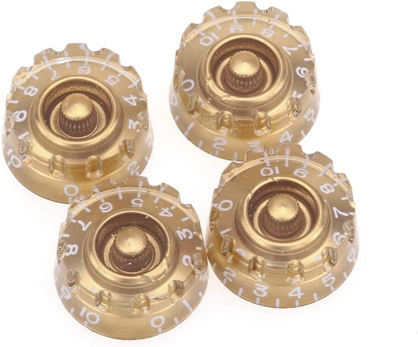 Lot de 4 Oro Musiclily Pro M/étrique 18 Splines Bouton de Potentiom/ètre Knurled Speed Knobs pour lAsie Import Guitare Basse Split Shaft Pots