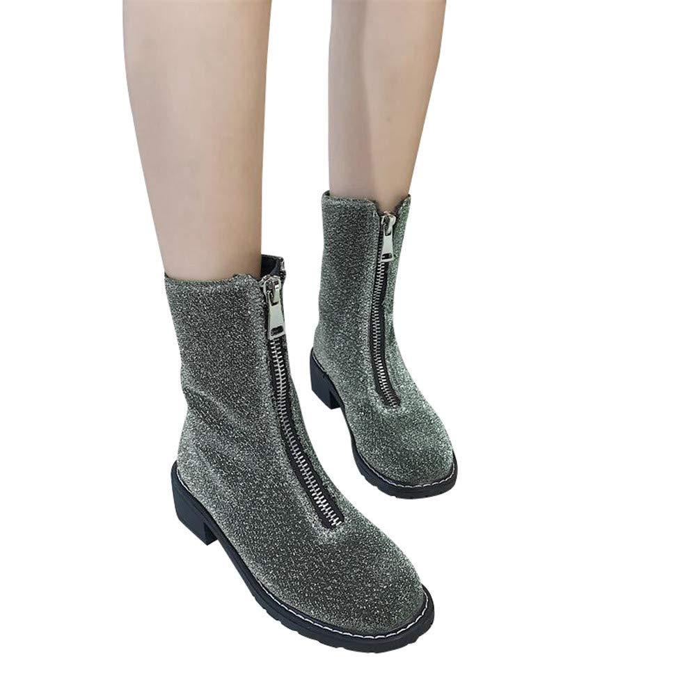 LILICAT❋ Paño de Lentejuelas de Cabeza Redonda con Cremallera Botines para Mujer Botas Martin, Zapatos de tacón Cuadrado Paño de Lentejuelas Cremallera ...