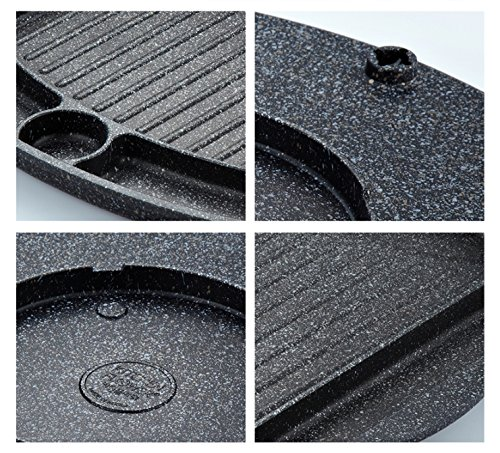Korean BBQ Grill Pan, Square Roast Pan, Non-Stick Coated Pan(Exterior/Interior) by Kitchen Flower (Image #2)
