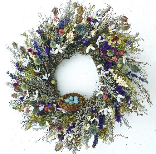 Robins Paradise Wreath With Nest Dried Spring Wreath (Floral Wreath Dried)