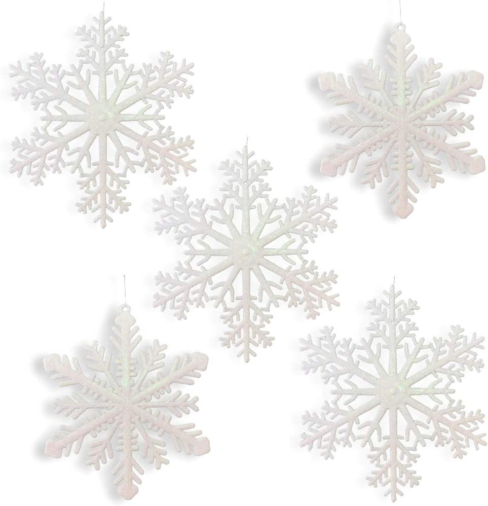 "Large Snowflakes - Set of 5 White Glittered Snowflakes - Approximately 12"" D -Two Asst Designs Snowflake Decorations - Snowflake Window Decor - Winter Decorations"
