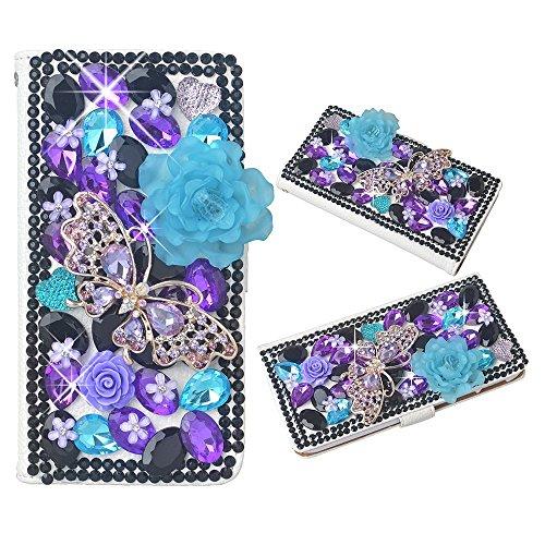 Spritech(TM) PU Leather Bling Phone Case for Samsung Galaxy Grand Prime G530 2015 Edition,Handmade Black Purple Crystal Big Blue Flower Accessary Desi…