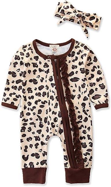 Pijama de manga larga con estampado de leopardo y volantes ...