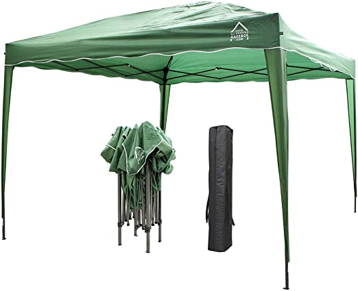 All Seasons Gazebos Pérgola de apertura instantánea con 4 patas, 4 bolsas de contrapeso y 2 barras contra el viento, incluye bolsa de transporte, 3 x 3 m, verde: Amazon.es: Jardín