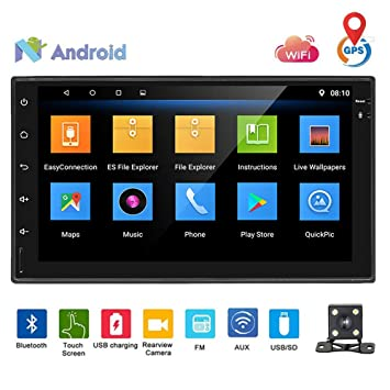 Podofo Android Autoradio Reproductor de DVD Estéreo de automóvil con altavoz de 7 pulgadas Pantalla táctil