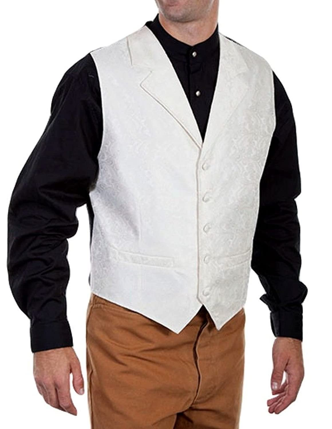 Victorian Men's Tuxedo, Tailcoats, Formalwear Guide Scully Mens Cream Paisley Vest - Rw093-Crm $62.41 AT vintagedancer.com