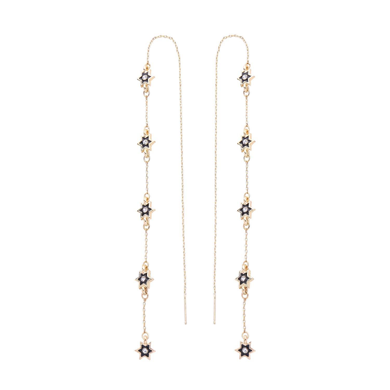 Miss Kiss S925 Hypoallergenic Gold Earrings Simple Star Long Ear Chain Earrings for Women Girls ED01663c
