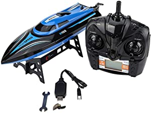 Wandisy Speedboat Model Toy, RC Remote Control 4 Channel 25km/h Racing Boat