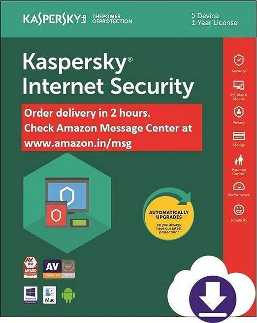 Kaspersky internet Security Latest Version- Multi-Device- 5 PCs, 1 Year (