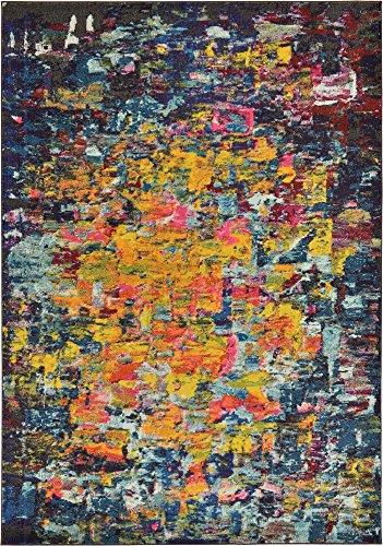 Modern Abstract 7 feet by 10 feet (7' x 10') Barcelona Multi Contemporary Area Rug (Barcelona Brown Rug)