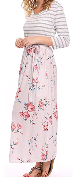 45c2d3084 BLUETIME Women's Striped Floral Print 3/4 Sleeve Tie Waist Maxi Dress with  Pockets (