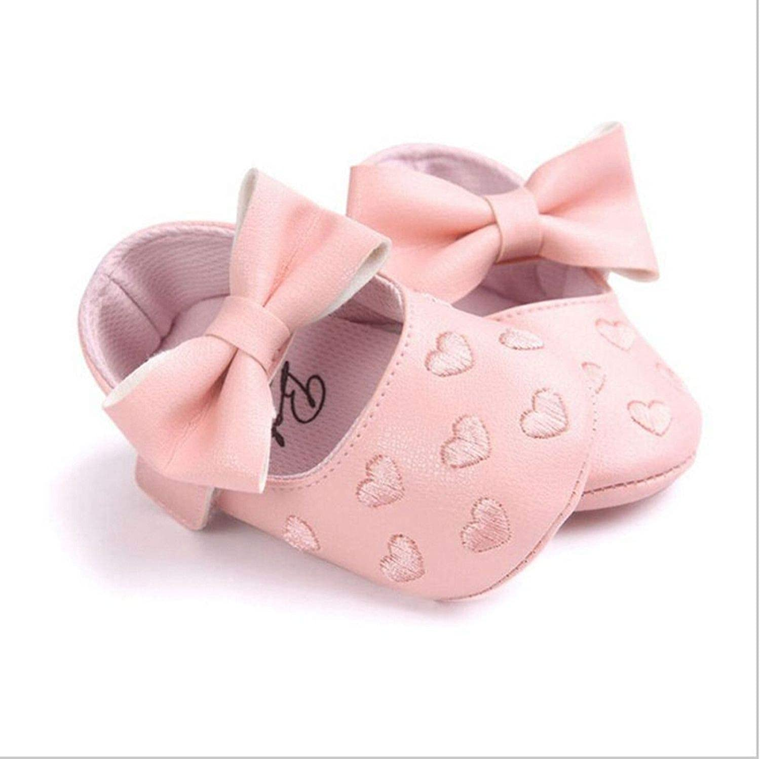 Kinggolder Fashion Newborn Baby Boy Girl Pu Moccasins Soft Ballet Shoes Pink