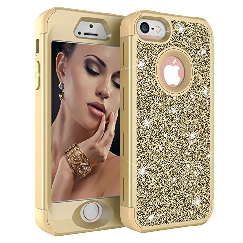 iPhone 5S Case, iPhone 5 Case,iPhone SE Case, Ankoe Luxury Glitter Sparkle Bling Shiny Heavy Duty Hybrid Sturdy Armor Defender High Impact Shockproof Cover Case for Apple iPhone 5 5S SE (Yellow/Gold) (Plate 9' Accent Green)