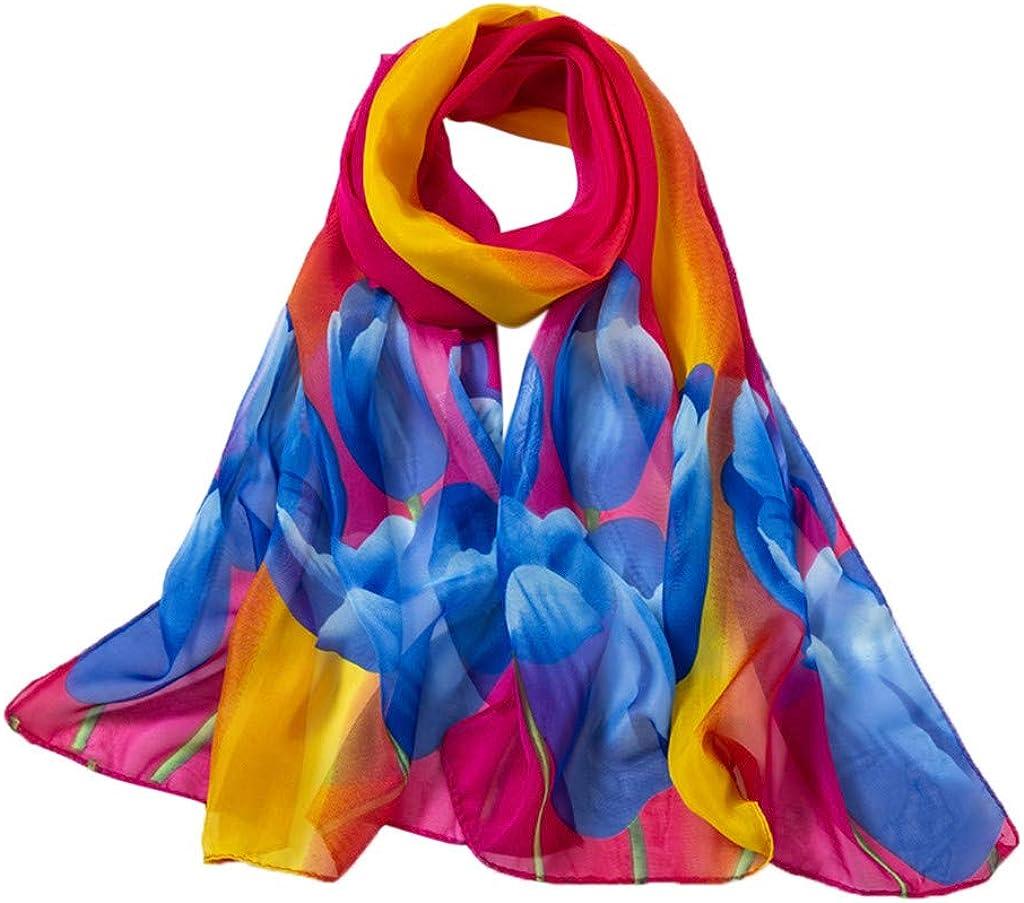 WensLTD Women Soft Thin Chiffon Silk Scarf Lily Printing Wrap Scarf Ladies Shawl Scarves