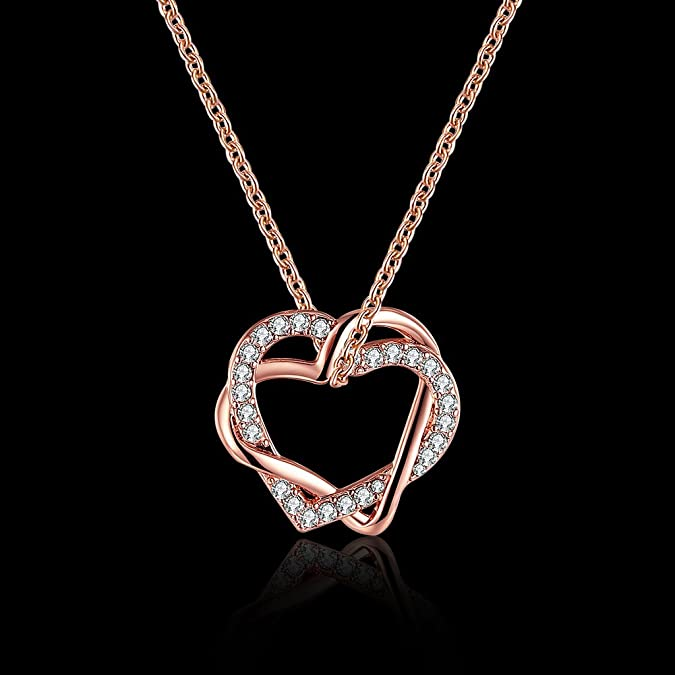 FJYOURIA Women's Twisted Love Double Heart Pendant with Cubic Zirconia White/Gold Plated Infinity Love Necklaces qrvuS