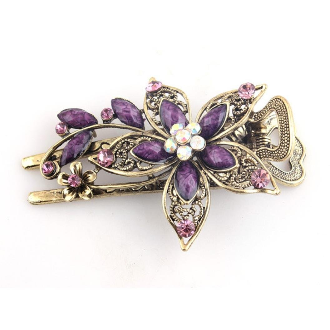 Hemlock Hair Clip Tool, Women Jewelry Crystal Hair Clips Hairpins (Purple)