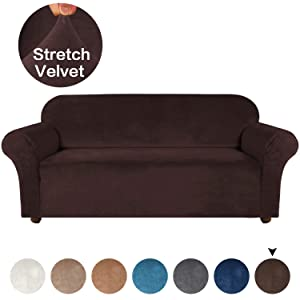Turquoize Velvet Plush Couch Cover for 3 Cushions Couch Stretch Sofa Slipcover Featuring Plush Soft & Comfortable Fabric, Slip Resistant, Form Fit Stretch Furniture Protector (Sofa, Brown)