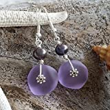 "Handmade in Hawaii,""Magical Color Changing"" purple sea glass earrings,fresh water purple pearl, sterling silver hooks, February Birthstone, Mother's Day Gift, FREE gift wrap"