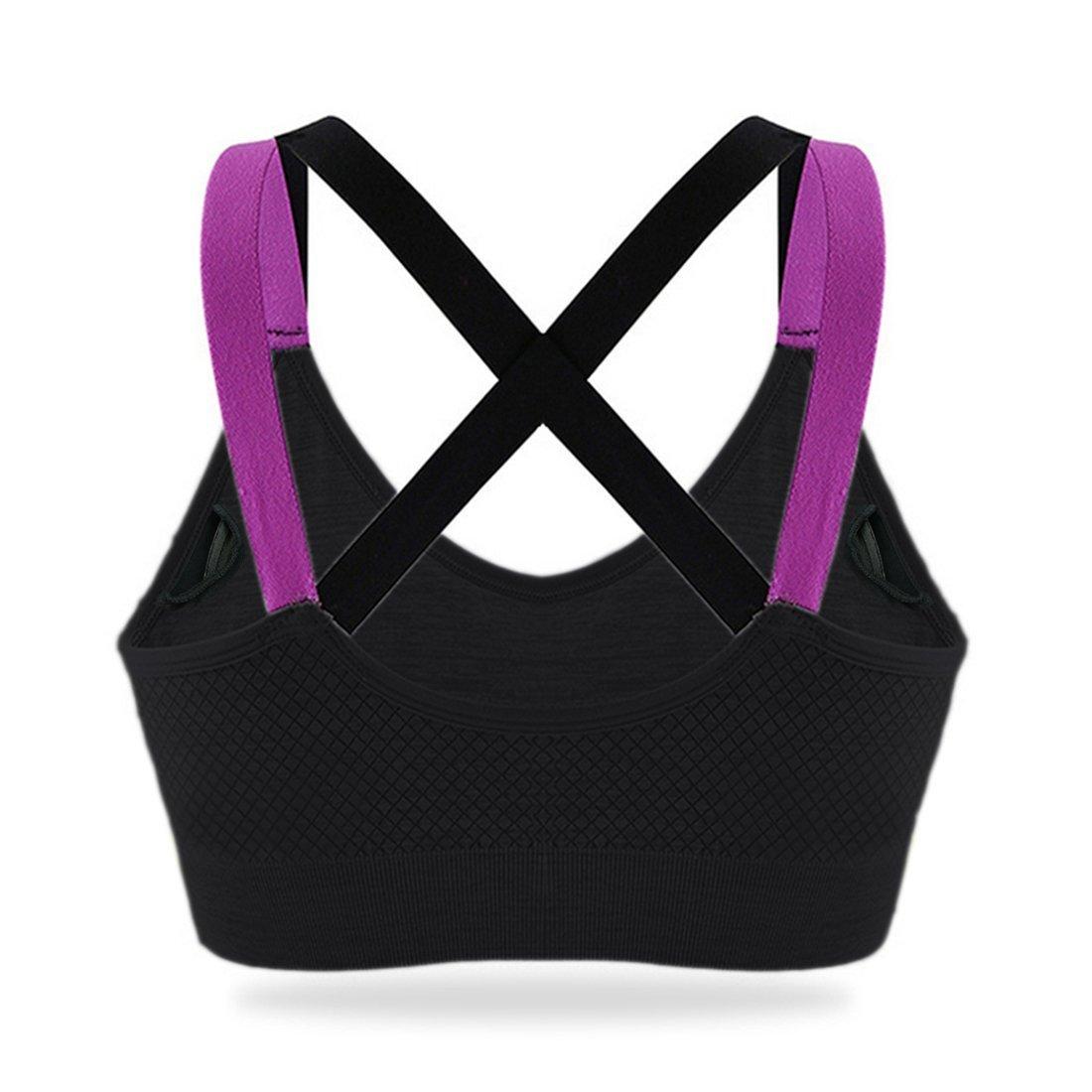 Women Sports Bra Racerback Pad Bra Ladies High Impact Running Yoga Boxing Fitness Strappy Bra