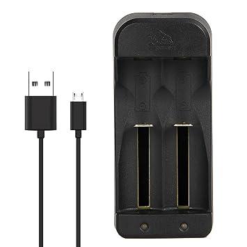 UltraFire USB Cargador Batería Universal 2 Ranuras Para Baterías Recargables Li-ion 18650/16340/26650/18730/16650/16500/14500/14340