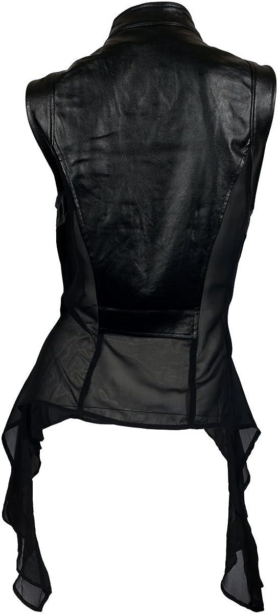 SALE Black Leather Sleeveless JacketAsymmetric Extravagant Vest with BeltLoose Tunic TopLeather Long Short TunicLarge Collar Black Coat