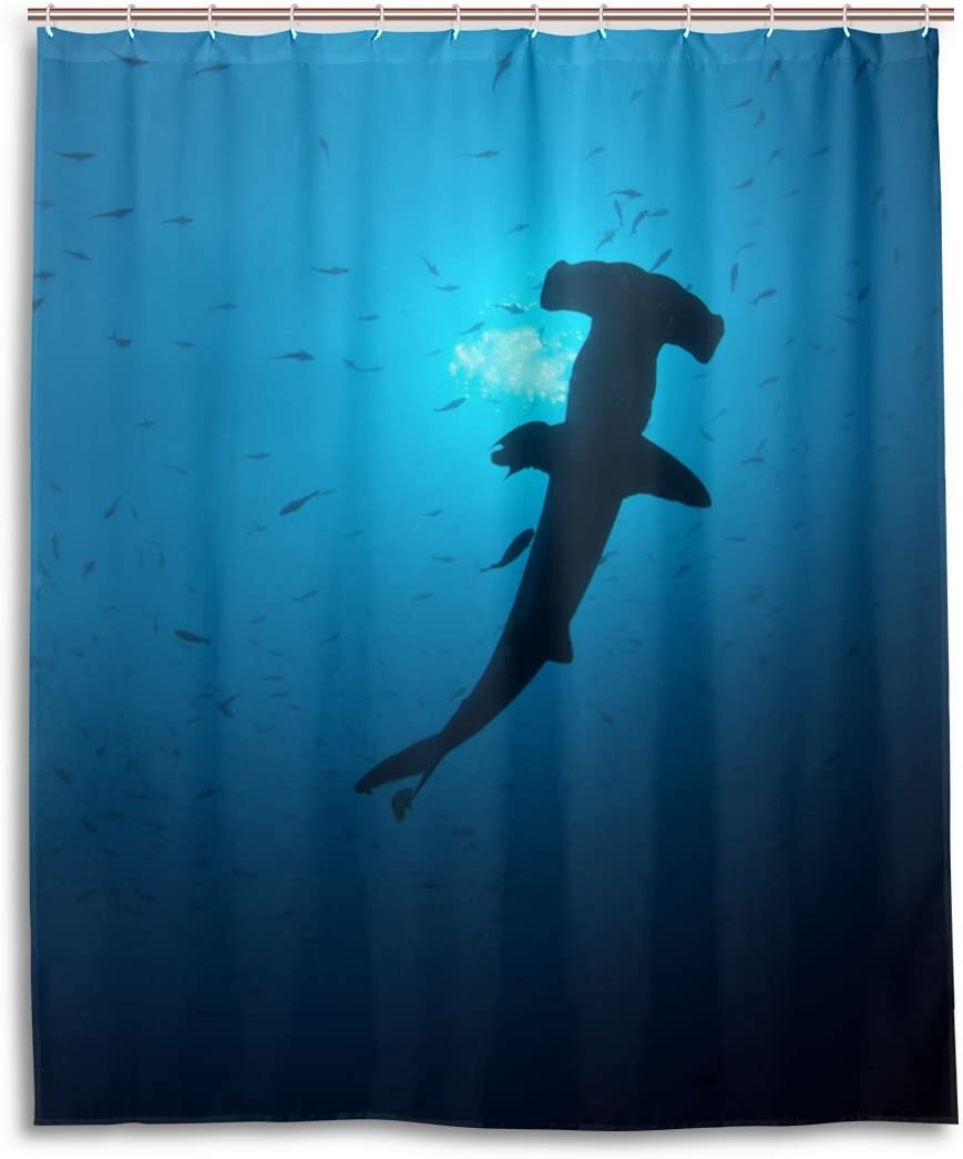 WEETIME Ethel Ernest Waterproof Bath Curtain Cool Scalloped Hammerhead Sharks Underwater Polyester Fabric Bathroom Shower Curtain 60 x 72 inch