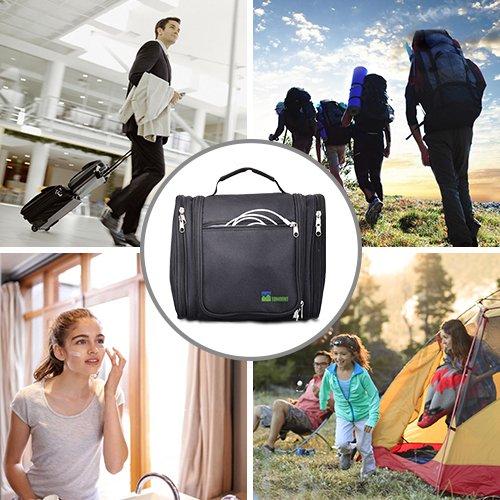 Multi-Usage Trousse de Toilette Voyage Camping avec Miroir Amovible et Poche Transparente Amovible Grande Trousse de Toilette