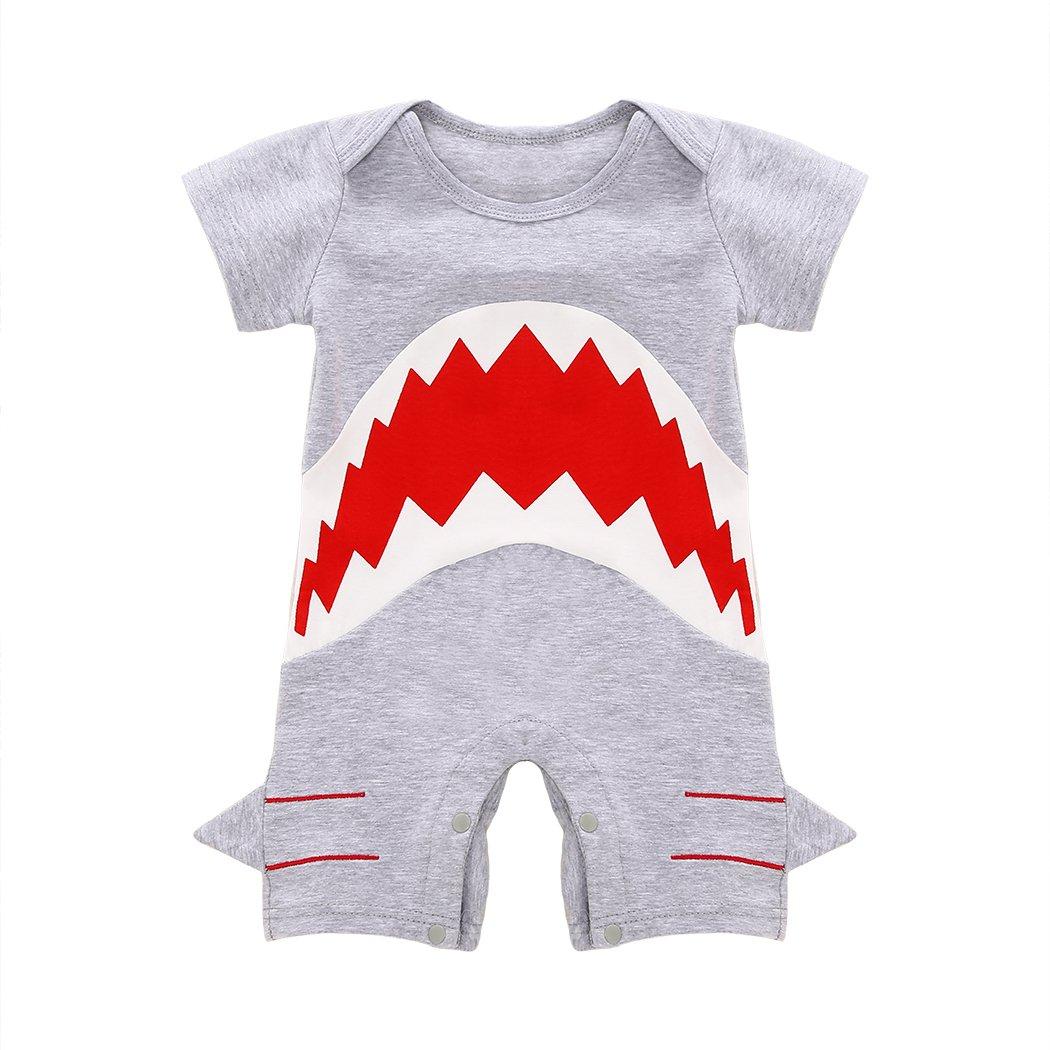 mioim® Baby Mono de manga corta Joven Body con Caricatura Tiburón gris gris Talla:70 cm DE&zll*KA873-70
