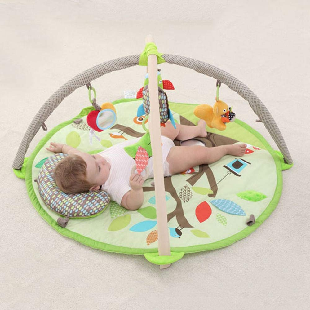 Baby Activity Gym for Infants,Leegoal Early Education Baby Crawling Mat Infant Round 2CM Thickness Game Blanket with Removable Crossed Arches Hanging Rattles /& Pillow Climbing Blanket Green