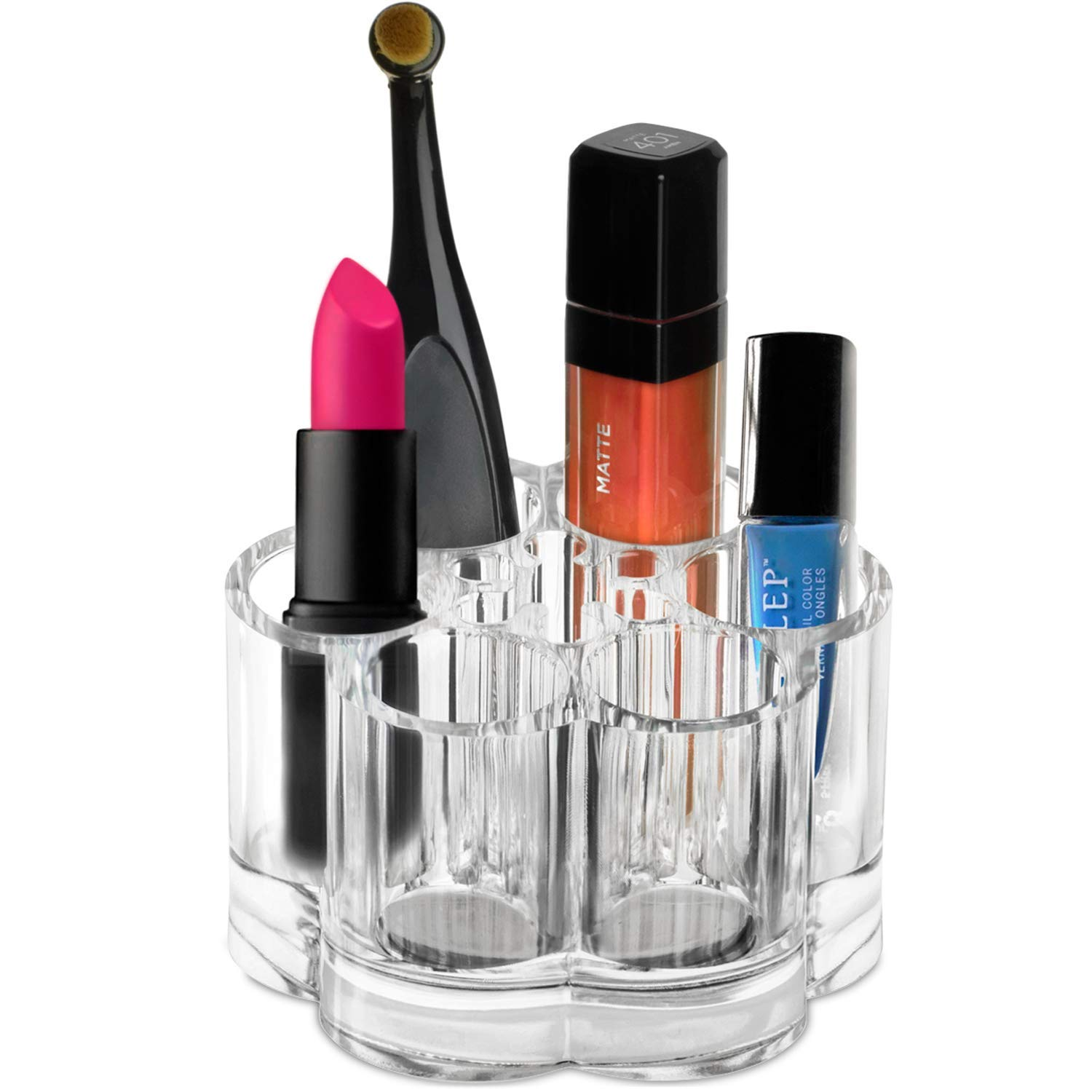 Flower Design Makeup Storage Organizer - Acrylic Clear Lipstick Countertop Holder With 7 Individual Slot Organizers For Brushes Nail Polish Essential Oils Eyeshadow Pens Ideal For Use - Best Gift Idea