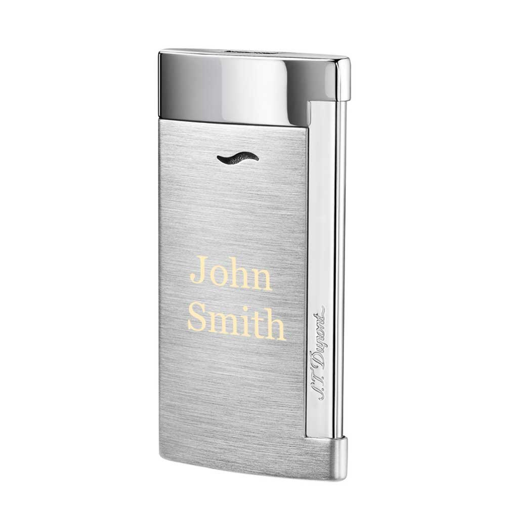 Personalized S.T.Dupont Slim 7 Single Torch Flame Lighter - Brushed Chrome with Free Laser Engraving