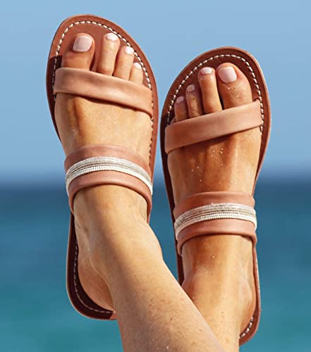 ea7a981536e Amazon.com  Open Toe Greek Leather Sandals - Women Handmade Greek Sandals -  Beaded sandals for women  Handmade