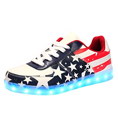 6a411f93a585 QOUJEILY Light Up Shoes Fashion LED Sneakers (5.5 B(M) US Women