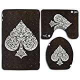 Happy Christmas Bathroom Accessories Bath Rug Sets 3 Piece Bathroom Non-Slip Floor Rug Ace Of Spades Poker Card Style Pedestal Rug + Lid Toilet Cover + Bath Mat For Kids Womens