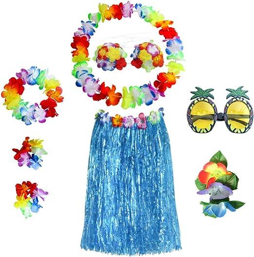 Amosfun Hawaiian Falda con Flores Leis y Gafas de Sol de piña ...