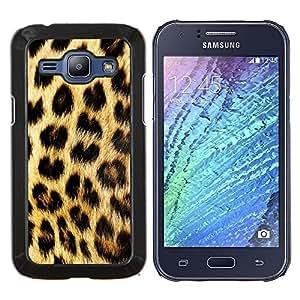 EJOOY---Cubierta de la caja de protección para la piel dura ** Samsung Galaxy J1 J100 ** --Patrón manchas de piel de oro de Brown