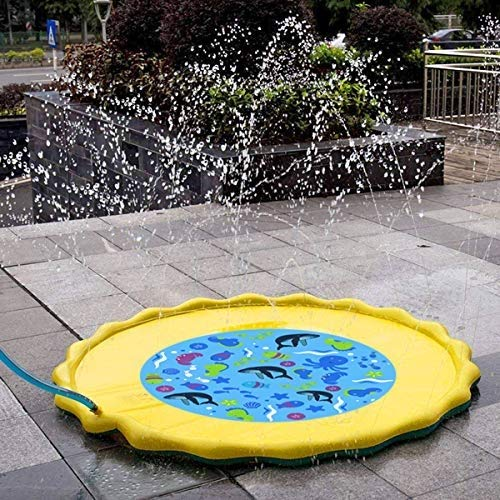 Fealay 59'' Kids Sprinkle and Splash Play Mat Inflatable Summer Water Pad Outdoor Sprinkler padToy Swimming Party for Kids Children Infants Toddlers Boys Girls by Fealay (Image #2)