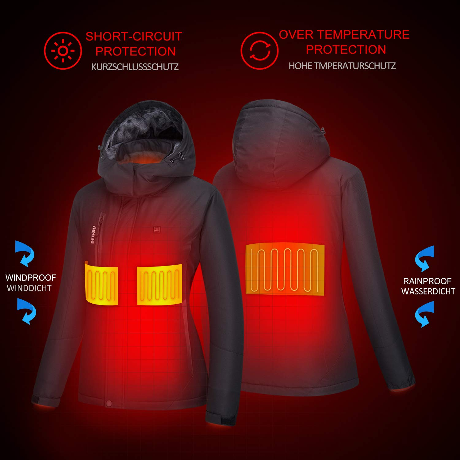 DEWBU Heating Jacket Outdoor Heated Clothing with 5000MAH 7.4V Battery for Hiking Fishing Camping Motorcycle