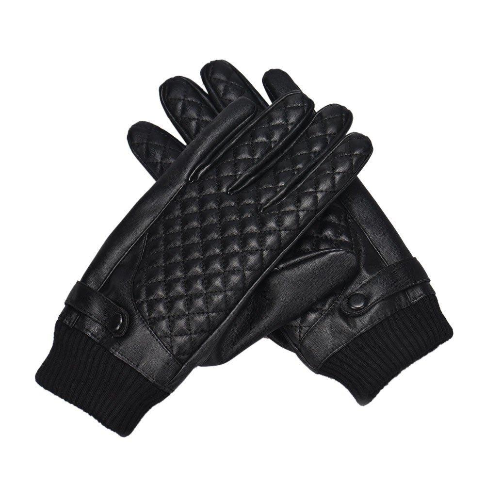 Kinlene Gants d'é cran Tactile de Cuir de Sports d'hiver de Moto d'hommes Thermiques 1