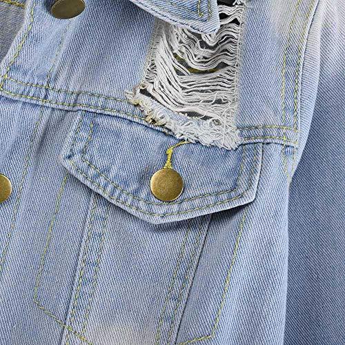 Pelle Pelliccia Donna Autunno Blu Cardigan Cashmere Jeans Bazhahei donna Maniche Pulsante Top Cappotto Giacca Di cappotto Maglione Maglieria giacca Lunghe Casuale FxnqHCwU