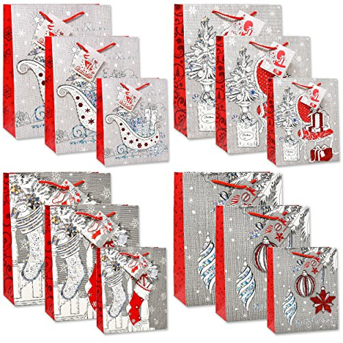 12 Merry Christmas Gift Bags Bulk 4 Large 4 Medium 4 Small Silver and Red Elegant Pop Up 3D Glitter and Foil Design with Handles and Tags for Kids Women Classroom Holiday Wrapping Party Favors Toys (Metallic Traditional Chair)
