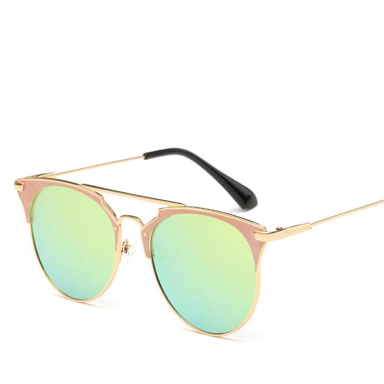 fc18619475 Amazon.com  Dormery Round Sunglasses Women Brand Designer 2018 Cat Eye  Sunglasses Sun Glasses For Women Female Ladies Sunglass Mirror Gold F  GoldC7 ...