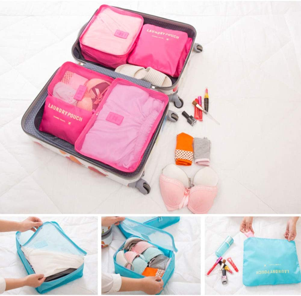 Color : Red Travel storage bag six-piece travel baggage clothing underwear finishing bag 6 sets Uns