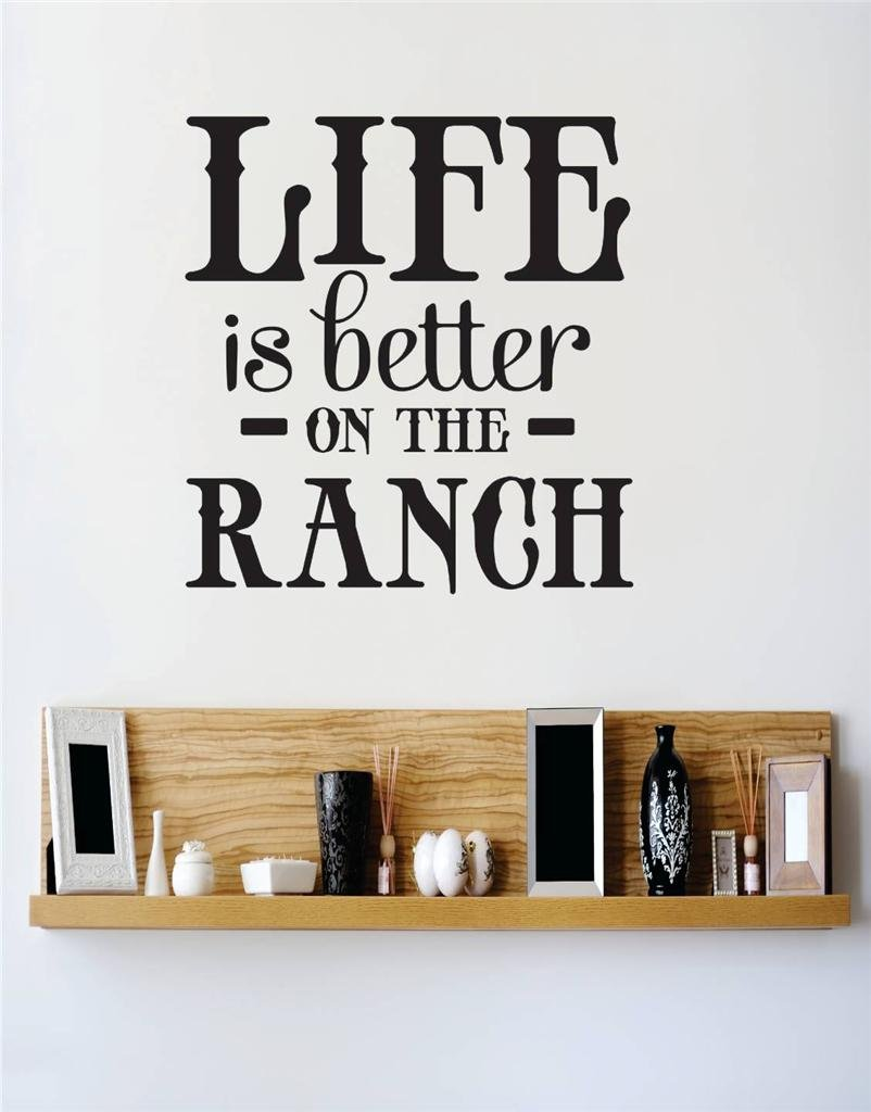 18 x 18 Design with Vinyl RE 3 C 2165 Life Is Better On The Ranch Image Vinyl Wall Decal Sticker