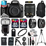 Holiday Saving Bundle for D3300 DSLR Camera + 18-55mm VR Lens + 0.43X Wide Angle Lens + 2.2x Telephoto Lens + 64GB Storage + Flash with LCD Display + UV Filter - International Version