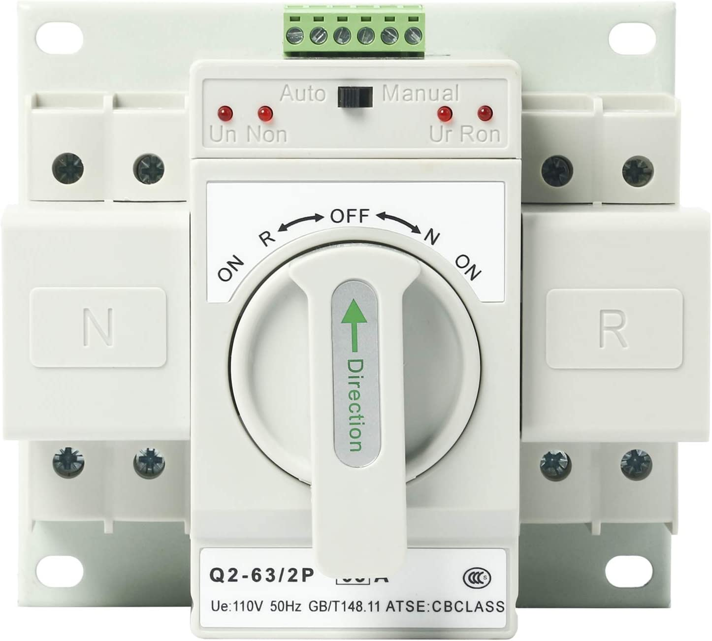 110V 2P 63A MCB type Mini Dual Power Automatic Transfer Switches Toggle Controller Change-Over Switch ATS Self Cast Conversion