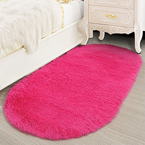 Lee D.Martin Ultra Soft Children Rugs Living Room Bedroom Oval Carpets Modern Shaggy Area Rugs Anti-Slip Backed Home Décor Rug,2.6' X 5.3' (Rose Red)