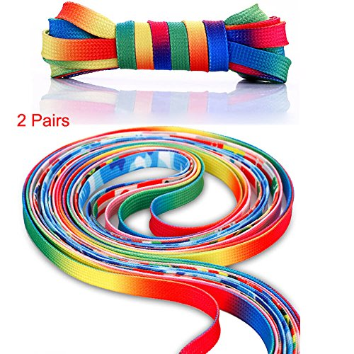 Kids Footlocker (2 Pairs 46 Inch Premium Rainbow Sneakers Shoelaces - Flat Colorful Fashion Shoelaces for Kids and Adults)