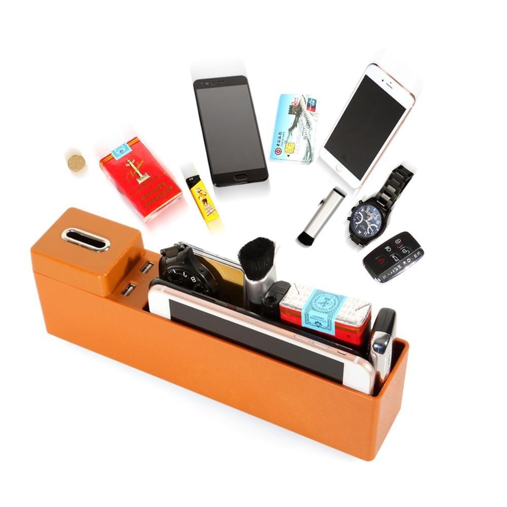 color beige hecho de pl/ástico con puertos USB Organizador universal para asiento de coche de Aolvo con bolsillos laterales y soporte para monedas extra/íble